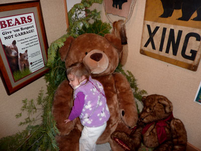 Hugging the bear at the Color the Bear event