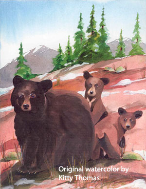 Watercolor of Natalie and Cubs