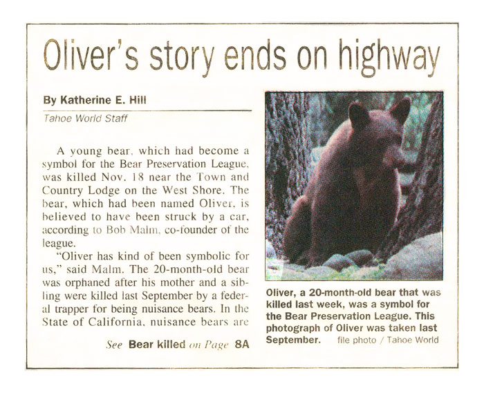 Oliver's story ends on highway
